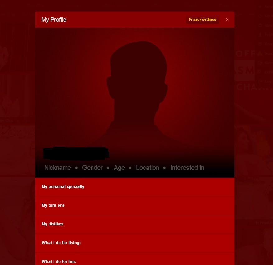 This is what happens after you verify a new account at LiveJasmin.com. You can fill this out or simply skip it.