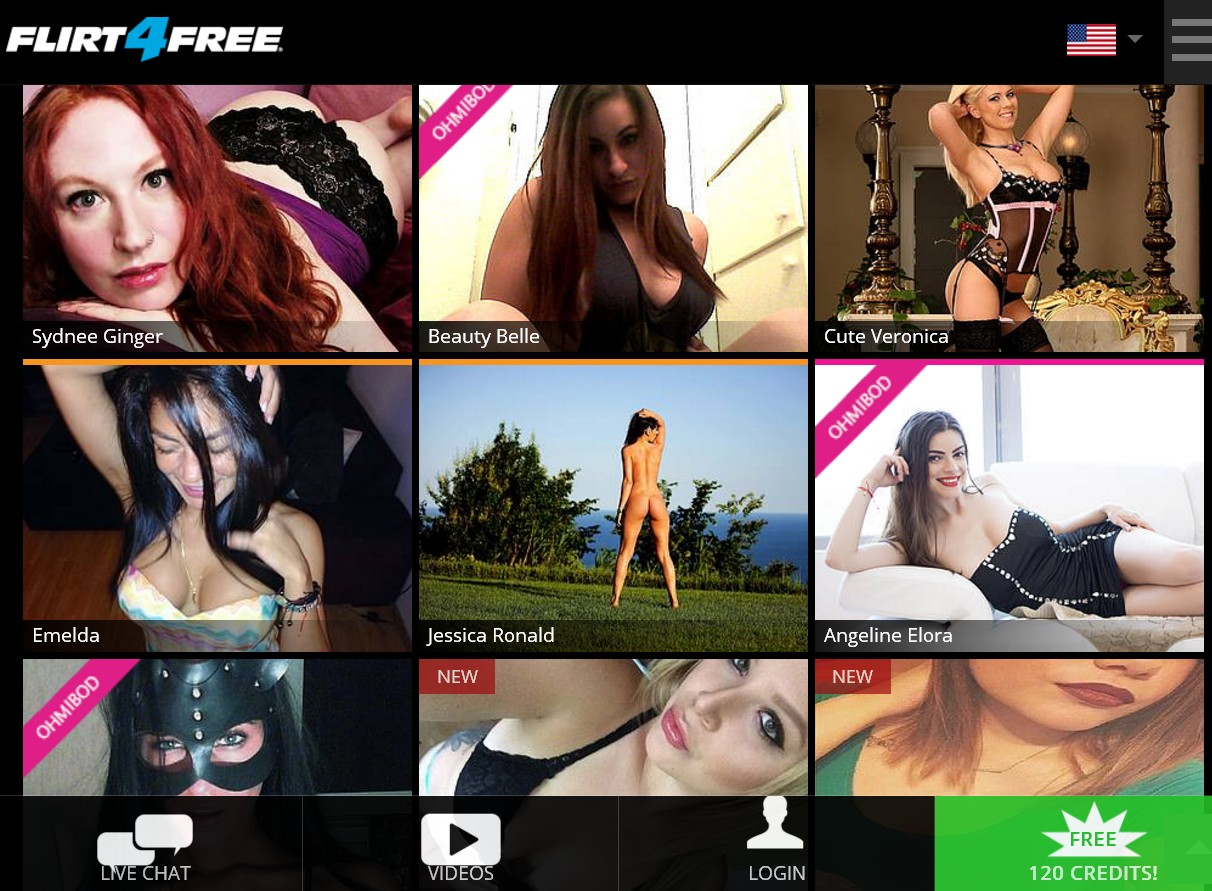 Screenshot of Flirt4Free homepage