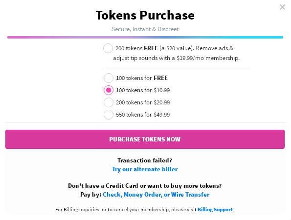 CamSoda token costs